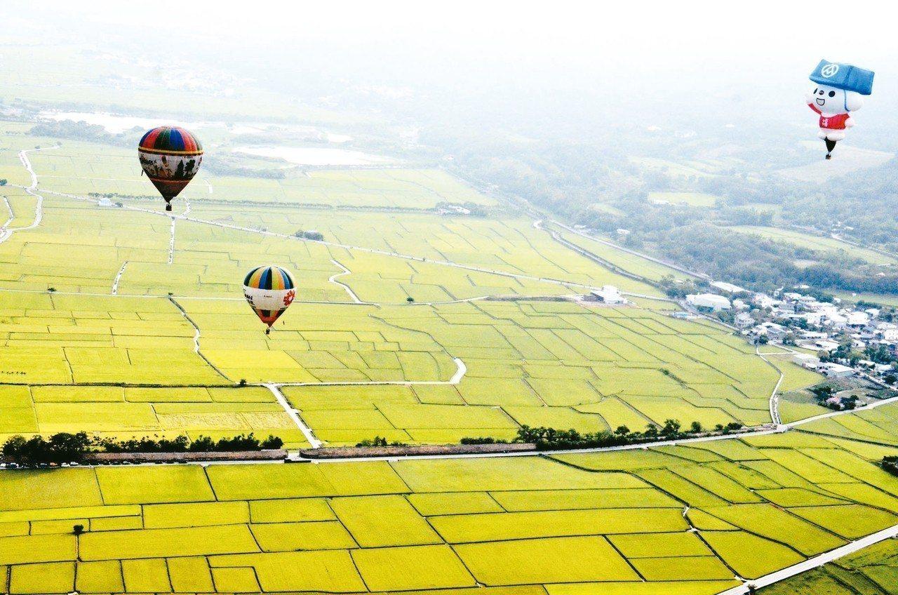 在台東搭熱氣球欣賞花東縱谷良田阡陌,美景讓人心醉。 圖/聯合報系資料照片