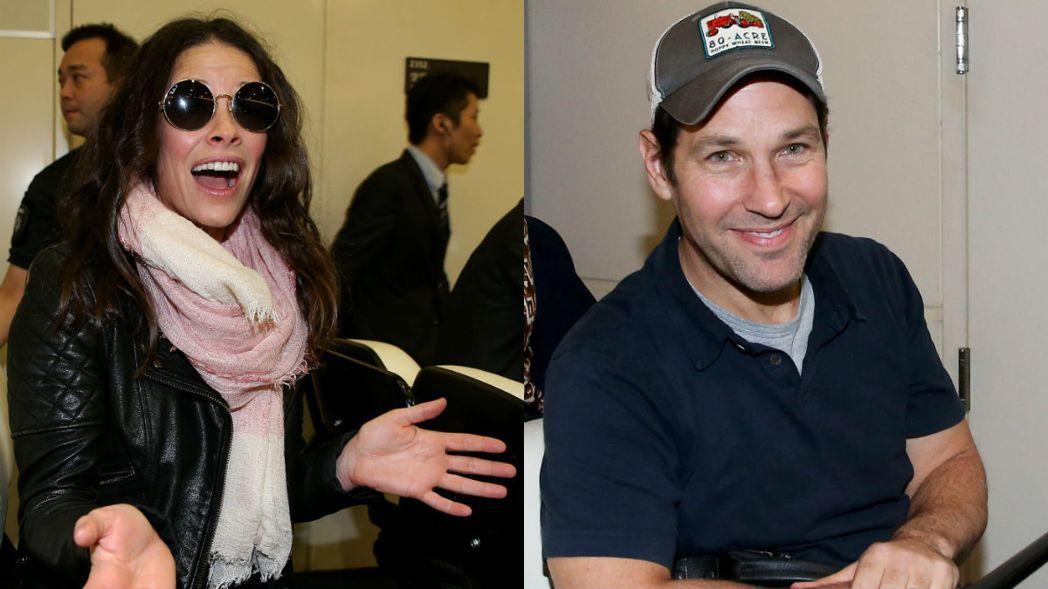 在電影「蟻人與黃蜂女」中飾演蟻人的保羅路德(右)、飾演黃蜂女伊凡潔琳莉莉(左),