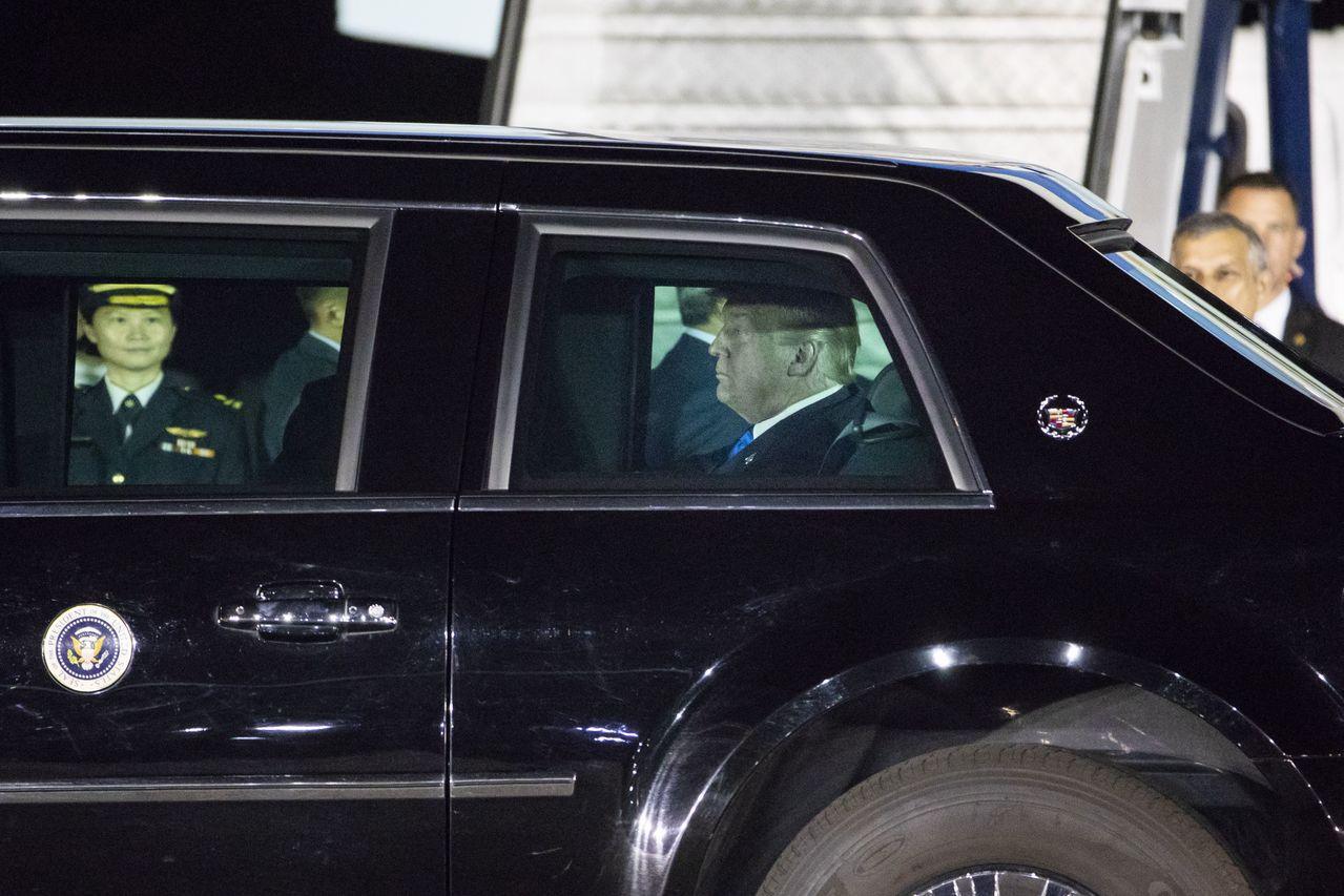 川普昨(10)日飛抵新加坡。 歐新社