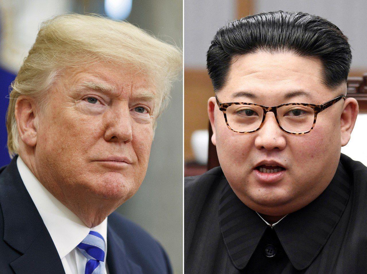 美國總統川普(左)與北韓領導人金正恩(右)。美聯社