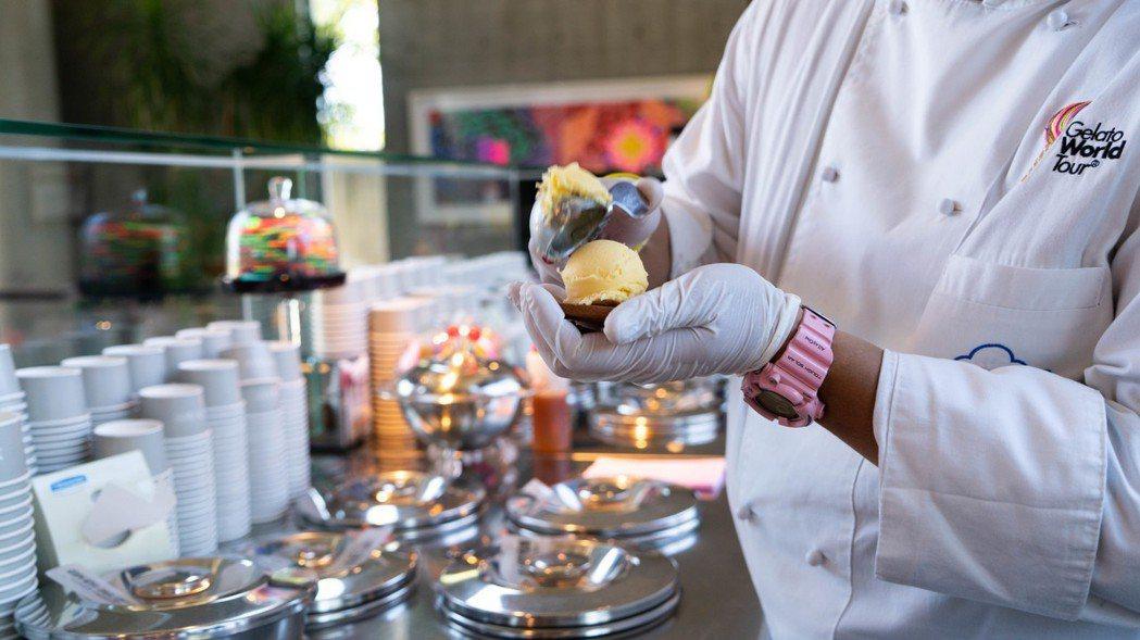 「綠豆椪雪餅」將常見美食冰淇淋、百年漢餅文化重新詮釋,交融成台灣夢幻逸品。圖/蜷...