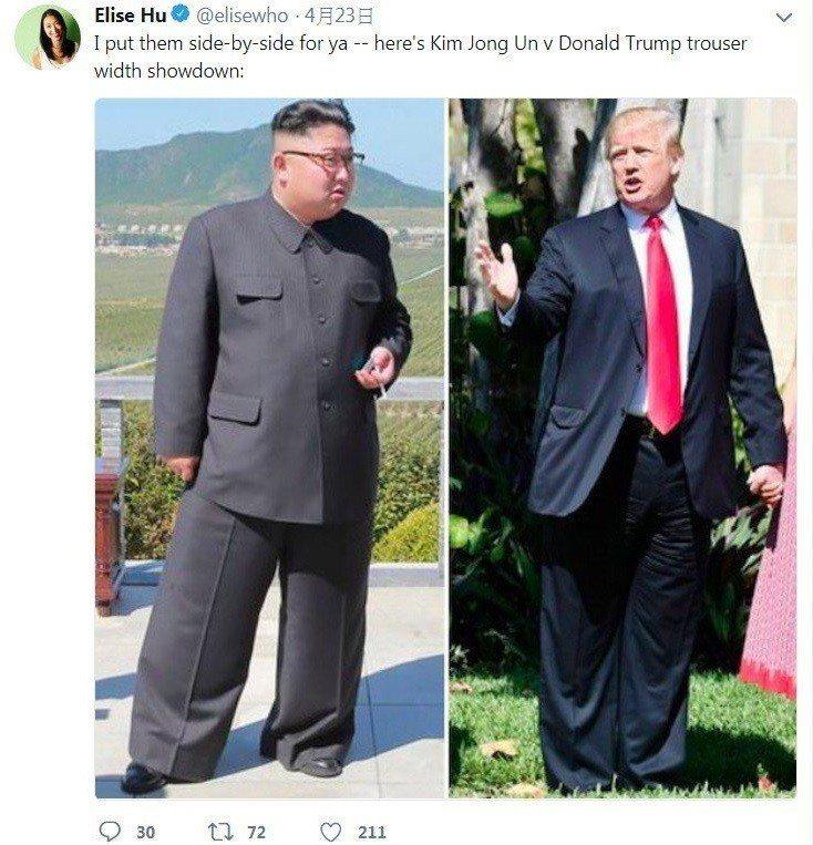美國總統川普(右)和北韓領導人金正恩出席歷史性的高峰會,兩人的穿著打扮也各有風格...