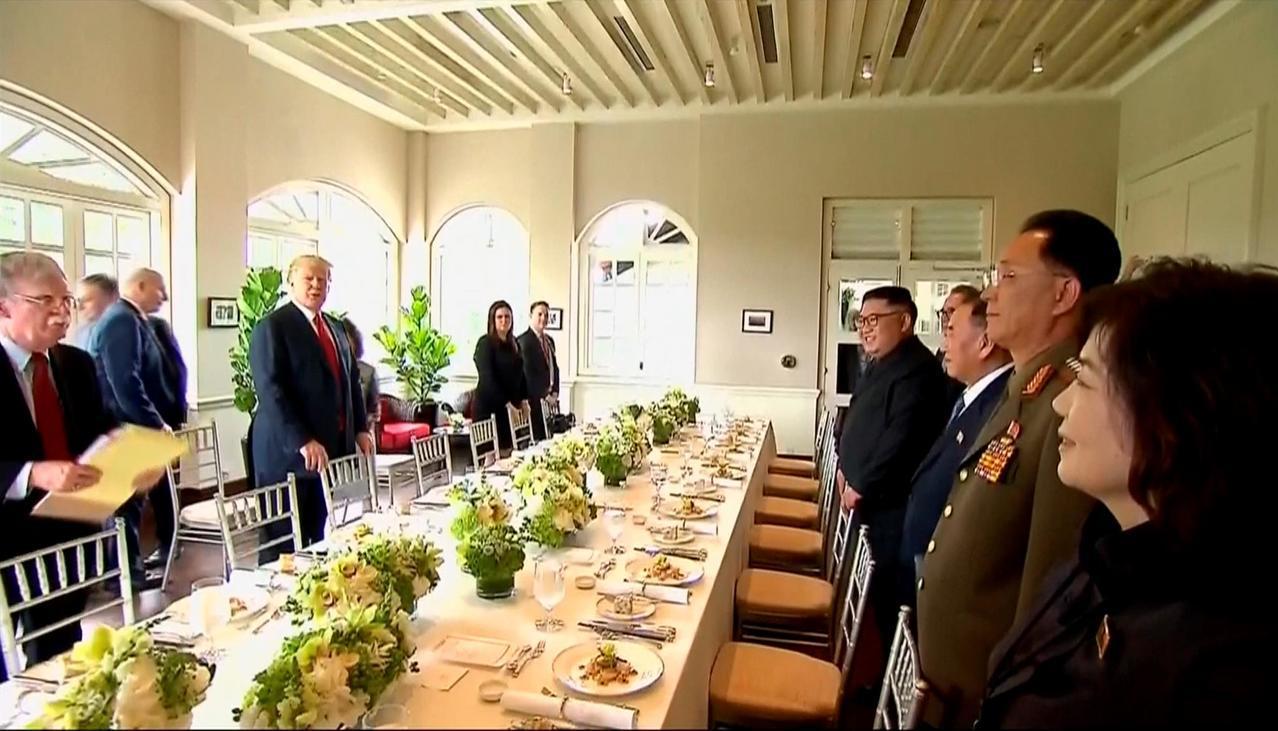 川金共進工作午餐。美聯社