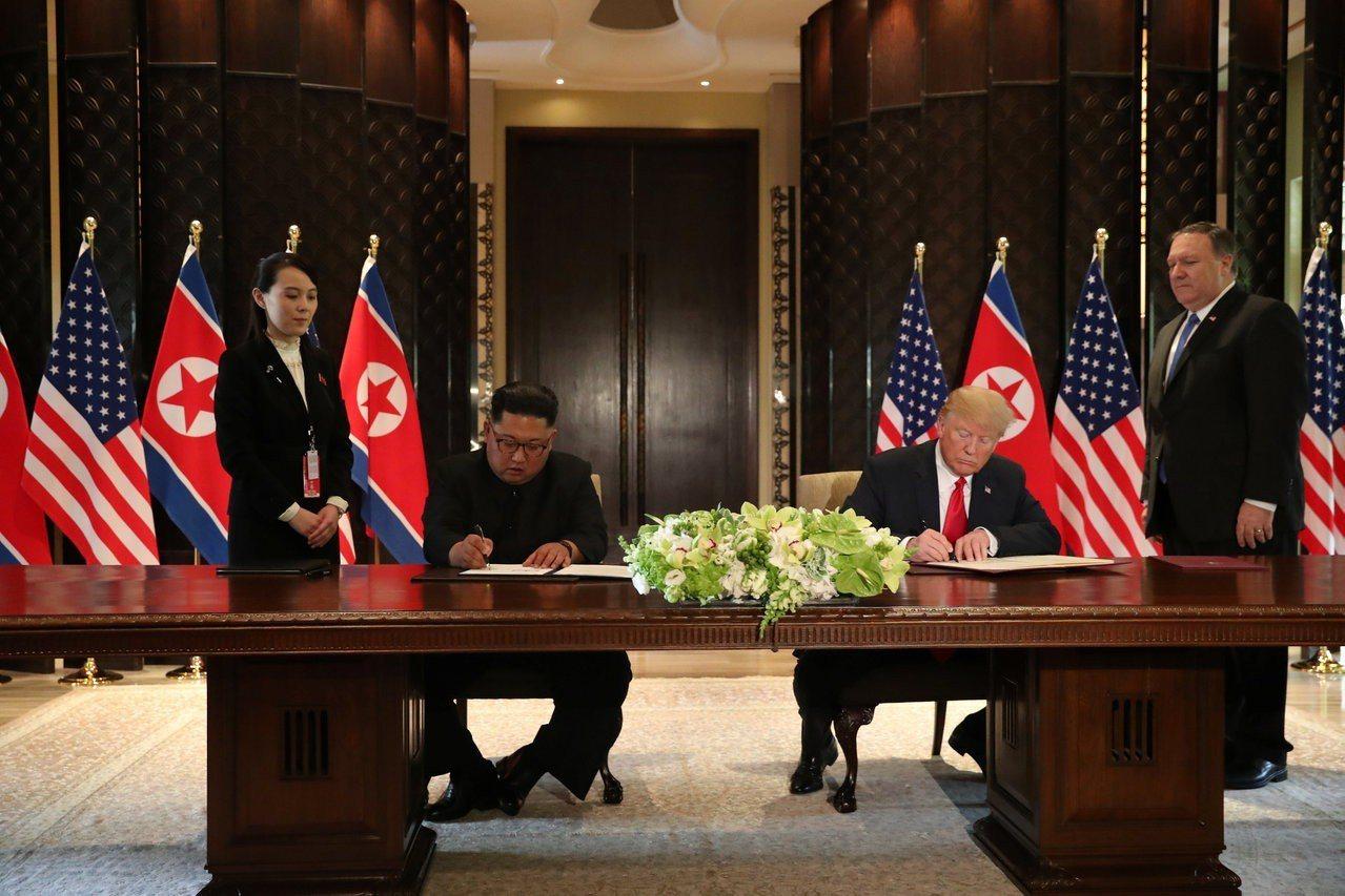 川普跟金正恩簽署協議,金正恩胞妹金與正(左)與美國國務卿龐培歐(右)在旁陪同。路...