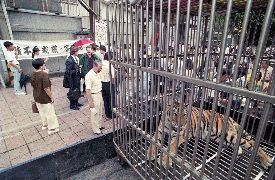1994年,來自各地的人工飼養野生動物業者,帶著動物到美國在台協會抗議,他們認為...