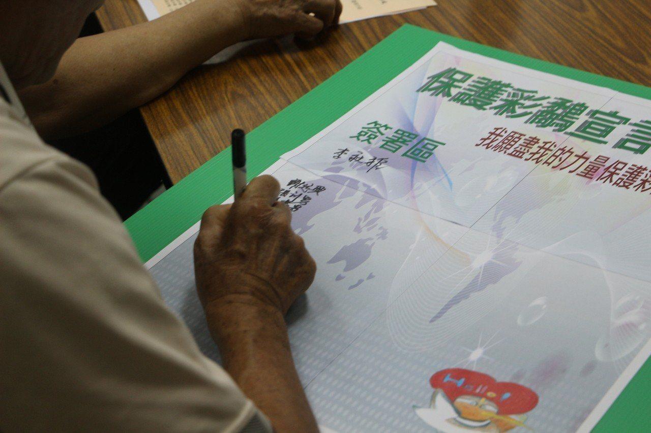 仁和國小同學們擔任起教育推廣志工,宣導保護彩鷸的觀念。記者邱奕能/攝影