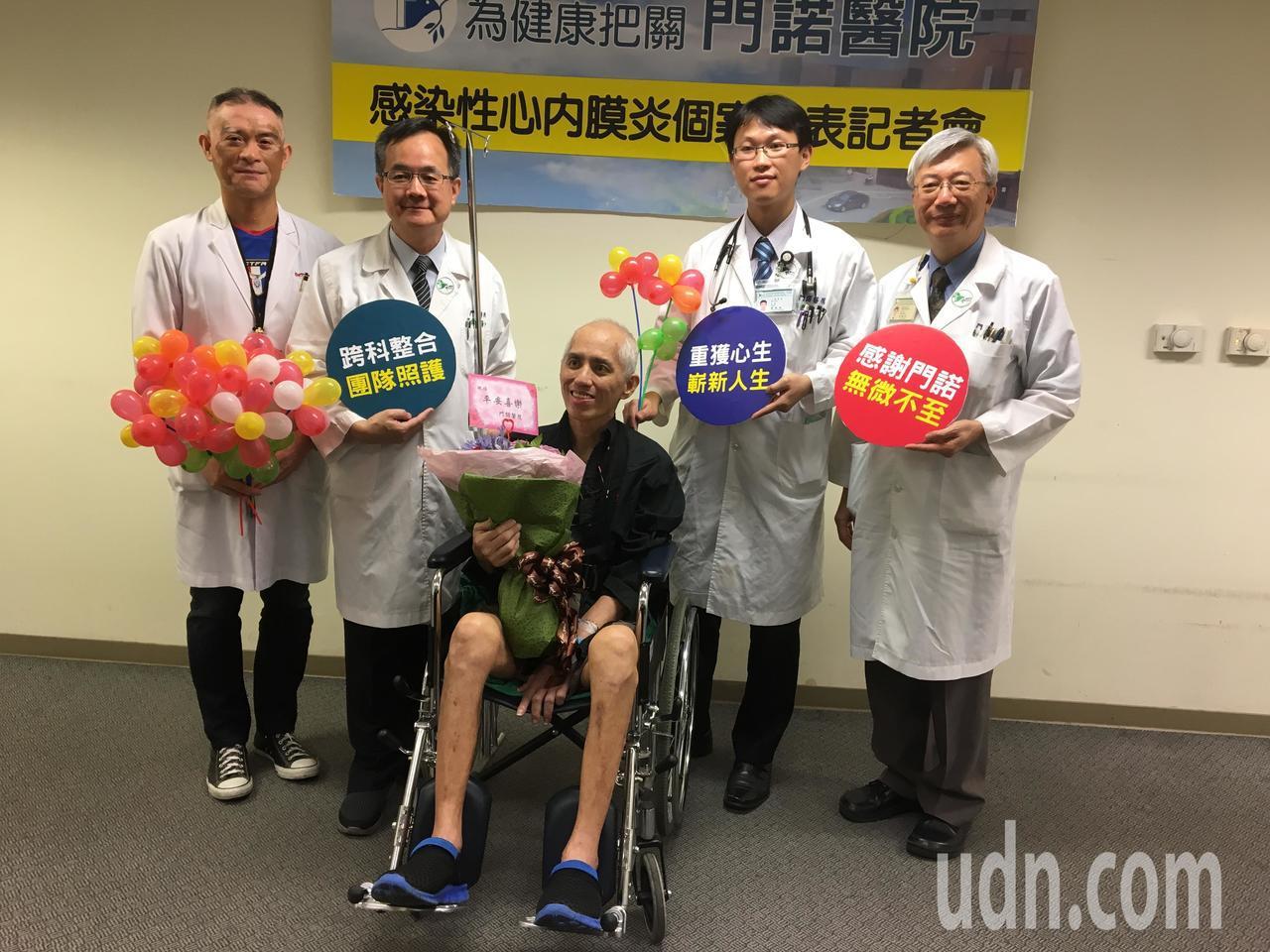 52歲的林姓男子(中)因口腔細菌,感染心內膜炎,經花蓮門諾醫院醫療團隊救治才挽回...
