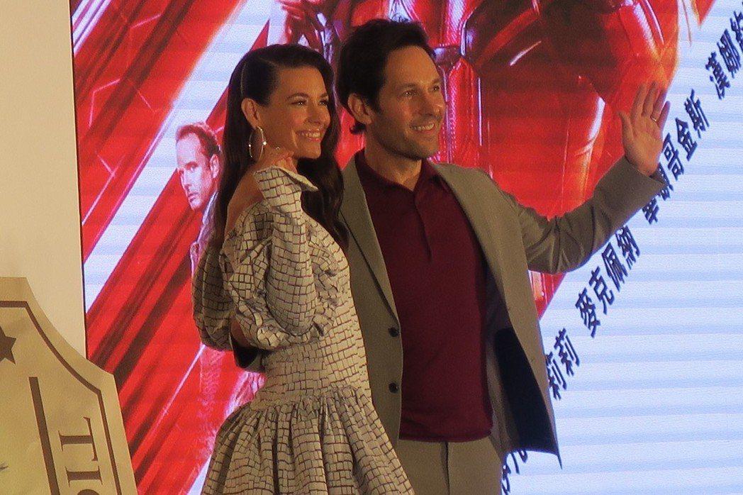 保羅魯德與伊凡潔琳莉莉出席「蟻人與黃蜂女」台北記者會。記者蘇詠智/攝影