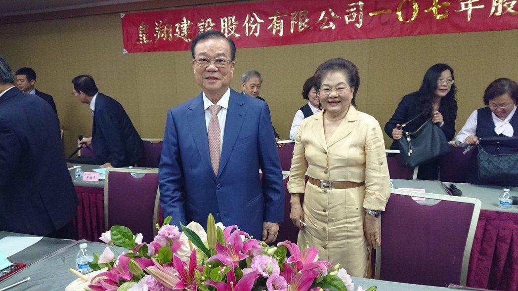皇翔建設董事長廖年吉(左)今在股東會中表示,近期成交量增溫,認為接下來房市將緩步...
