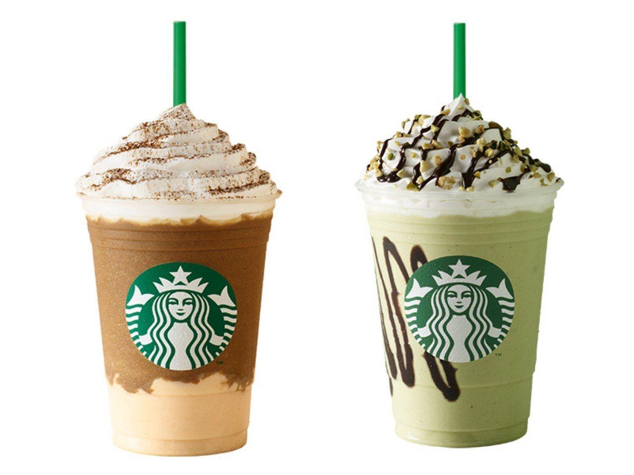 「開心果巧克力星冰樂」、「奶茶義式奶酪星冰樂」6月13日起上市。圖/星巴克提供