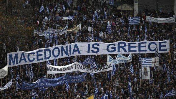 希臘人日前上街頭示威,認為他們的北方鄰國不應使用馬其頓的名稱。 (美聯社)