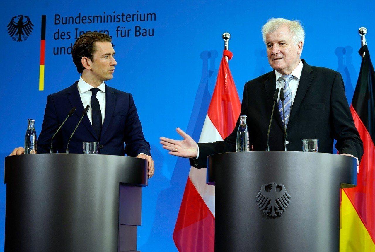 奧地利總理庫爾茨(Sebastian Kurz)與德國內政部長賽賀佛(Horst...
