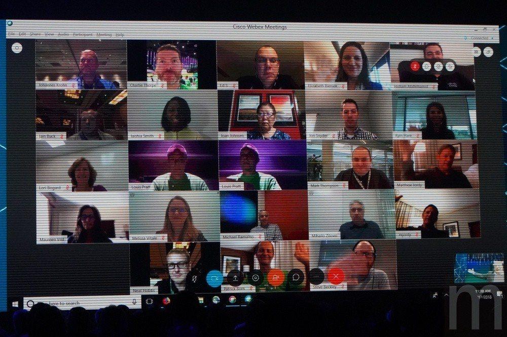 目前Cisco線上會議系統服務可輕易建立多人視訊,並且能以電視牆形式呈現。