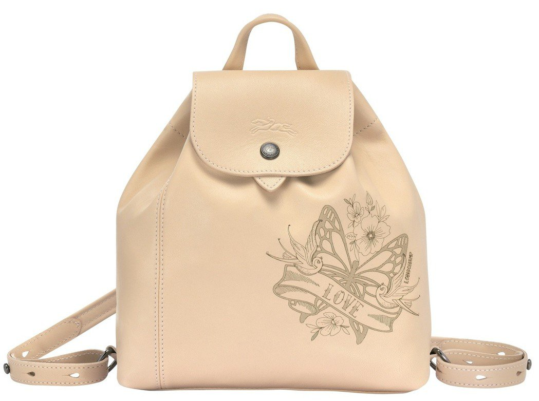 Le Pliage Cuir Tattoo裸色後背包,售價18,900元。圖/L...