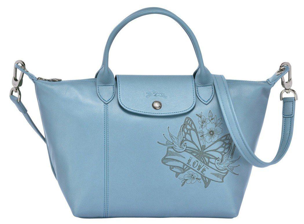 Le Pliage Cuir Tattoo松綠石色手提包,售價20,300元。圖...