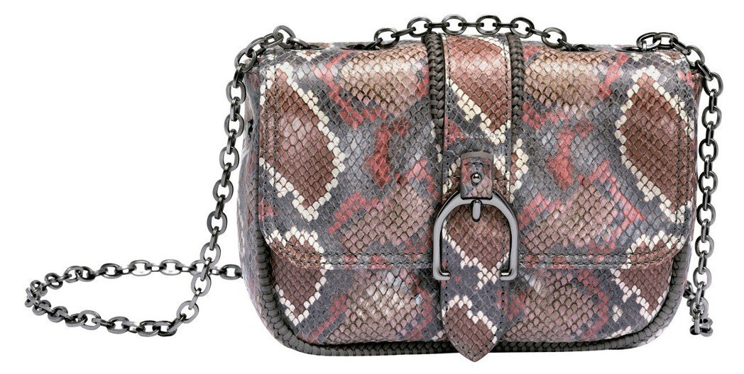 Amazone Python藕粉色肩背包,售價23,700元。圖/LONGCHA...