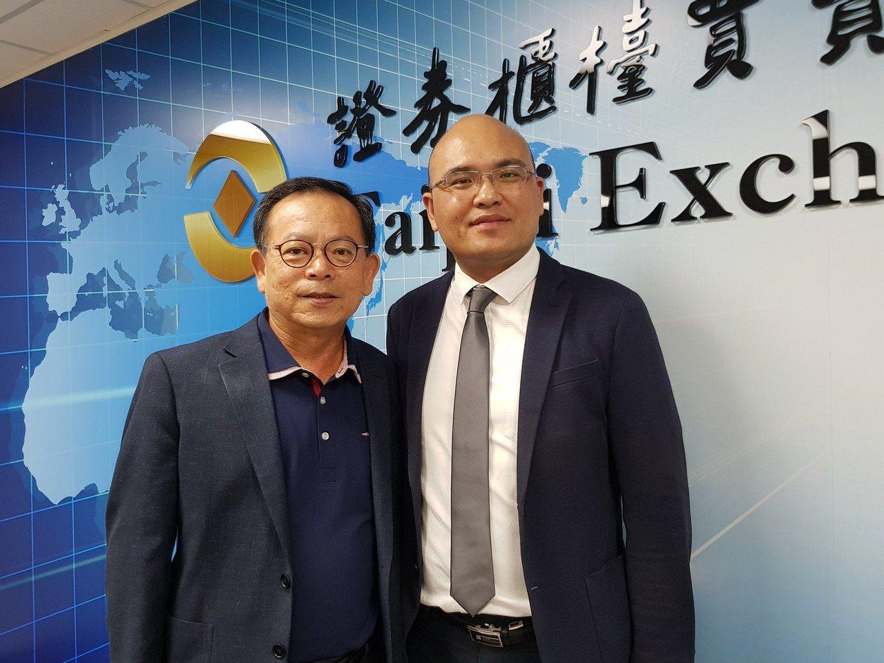 佳穎董事長林坡圳(左)與總經理朱理華。 記者曾仁凱/攝影