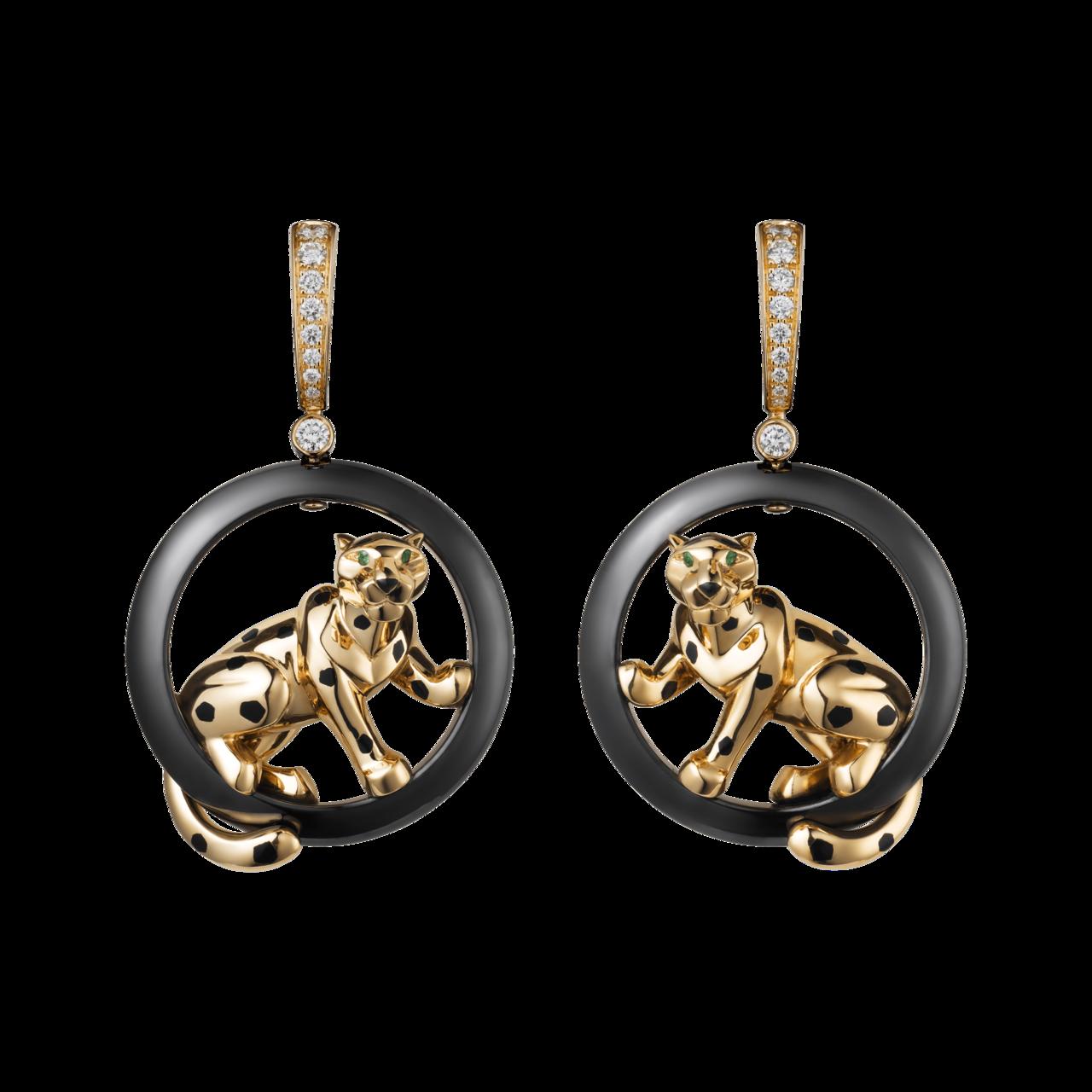 卡地亞美洲豹系列黃K金耳環,黃K金,陶瓷,真漆,沙弗來石榴石,鑽石,約92.5萬...