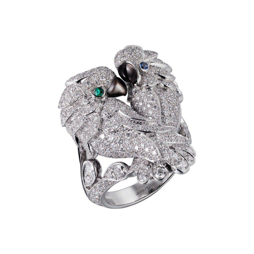卡地亞頂級珠寶系列愛情鳥鑽石戒指白K金鑲嵌灰色珍珠母貝,祖母綠,藍寶石,圓形明亮...