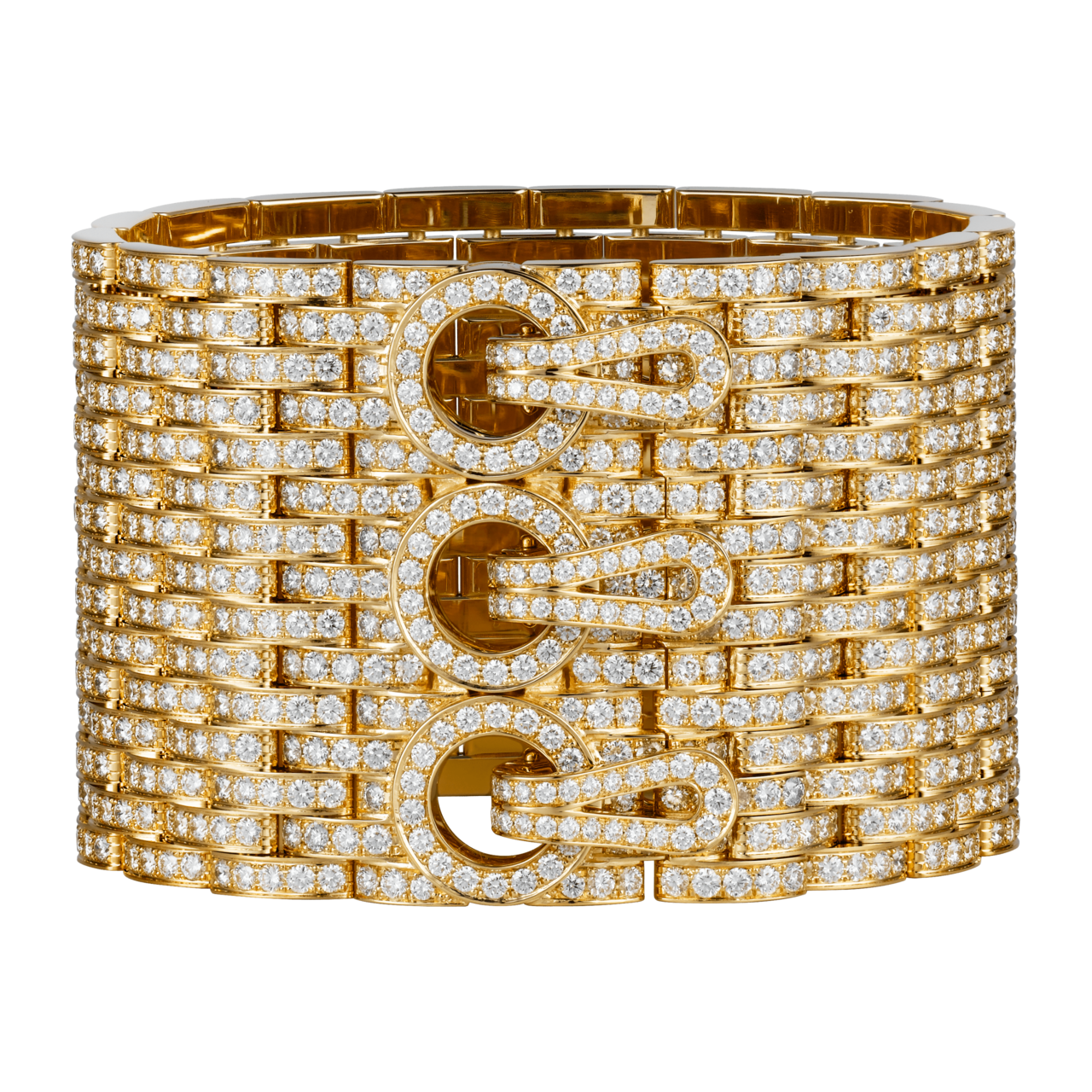卡地亞頂級珠寶系列Agrafe鋪鑲鑽黃K金手環,黃K金,鑲嵌圓形明亮式切割鑽石,...