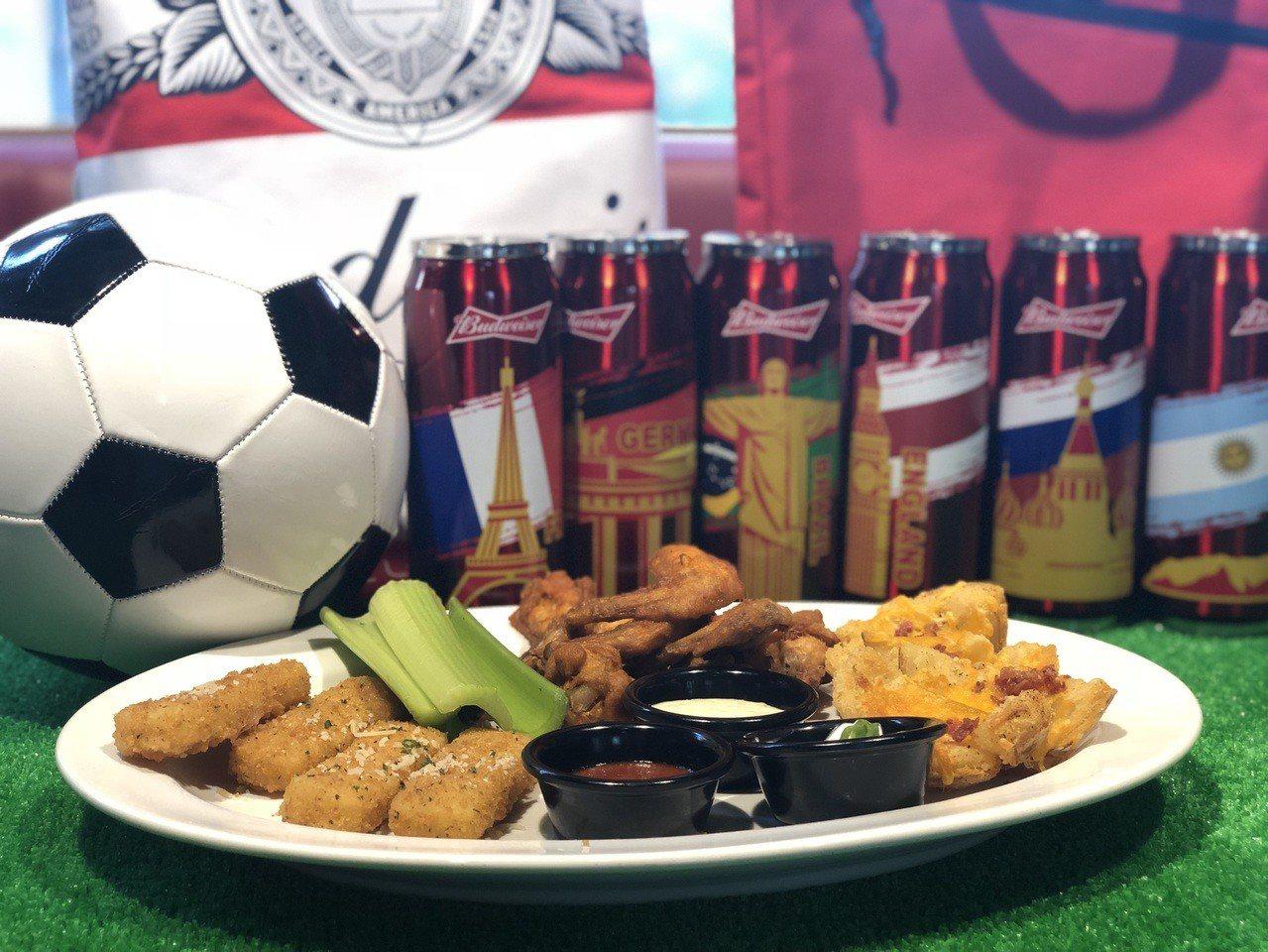 TGI FRIDAYS推出限定餐點及轉播賽事,若是點分享餐再送百威國家世界杯。記...
