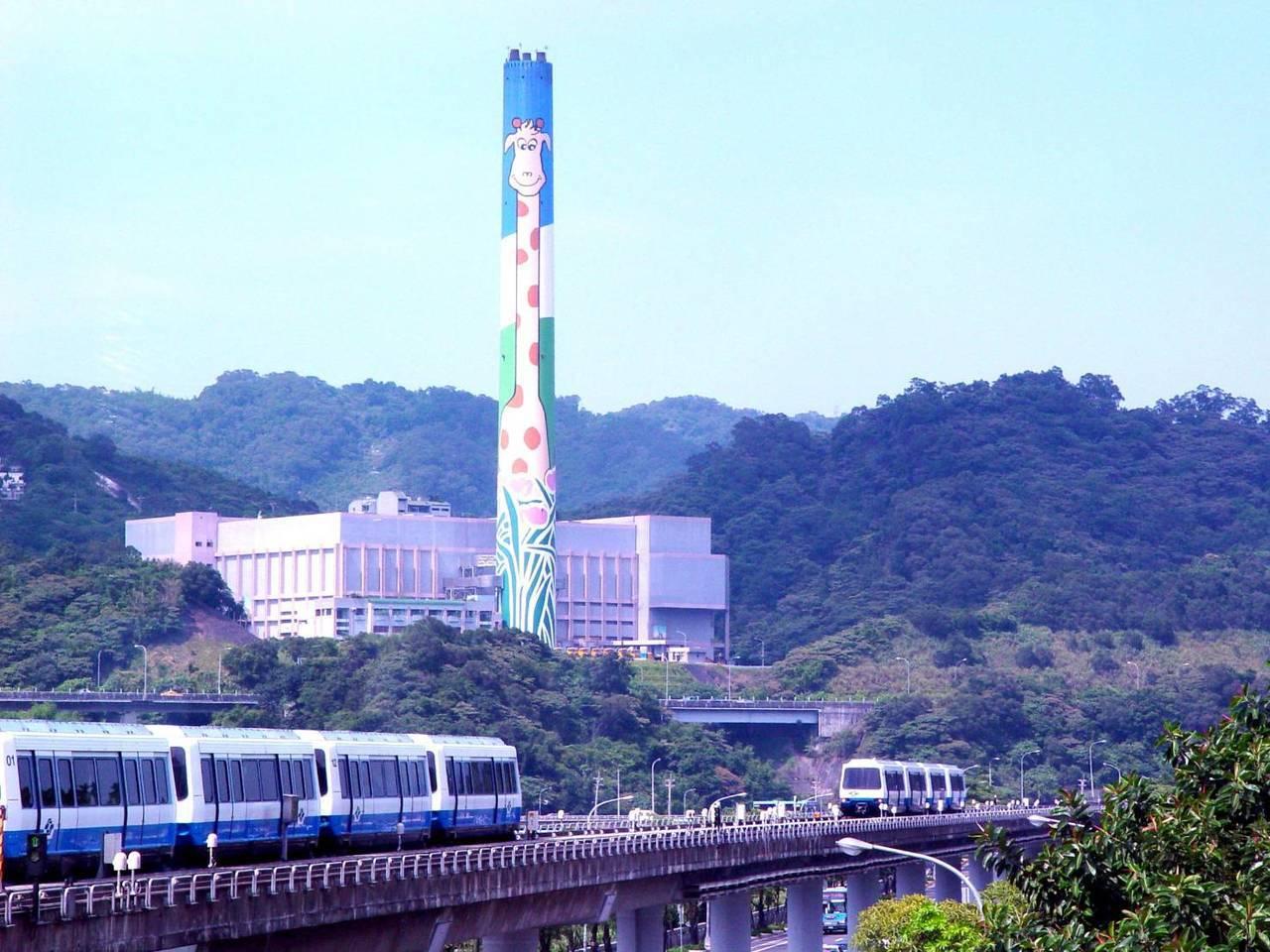 過去的長頸鹿木柵煙囪。圖/台北市環保局提供