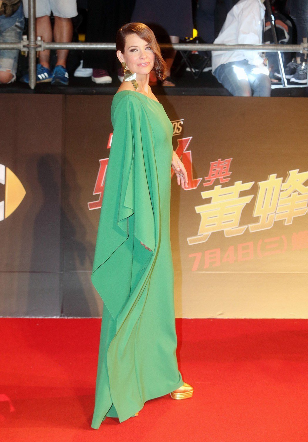 電影「蟻人與黃蜂女」女主角伊凡潔琳莉莉昨天走紅毯為電影宣傳。記者胡經周/攝影