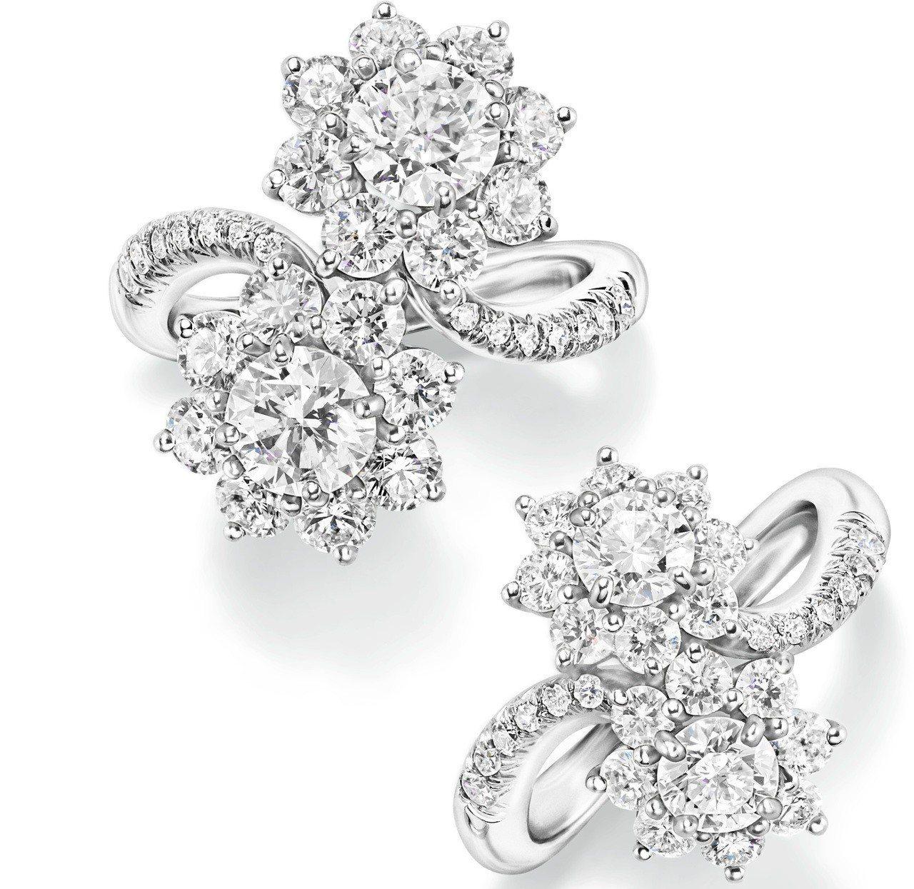 海瑞溫斯頓Sunflower系列鑽石戒指,以圓形明亮式切工鑽石組成,重約3.55...