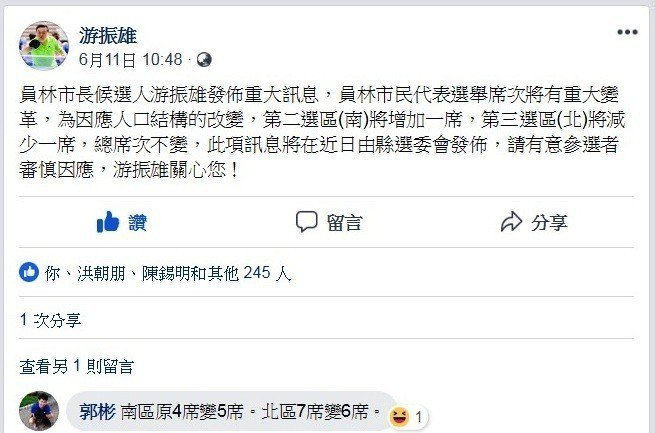 員林市長參選人游振雄在臉書個人網頁貼文,指出員林市民代表的選區應選名額有變動,提...