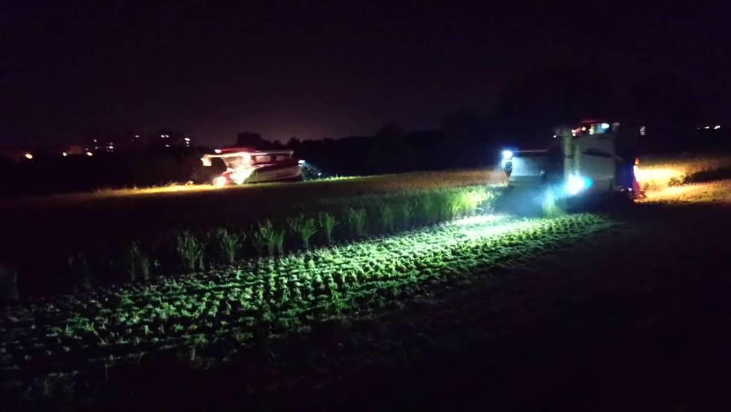 雲林縣至今仍有農民在搶收稻作。圖/二崙鄉農會提供