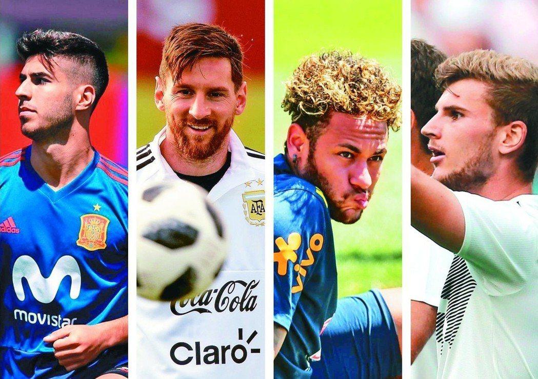 左起西班牙阿辛斯奧、阿根廷梅西、巴西內馬爾、德國維爾納。 (法新社)
