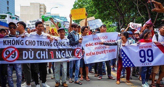 越南民眾不滿政府擬通過經濟特區法草案。 歐新社