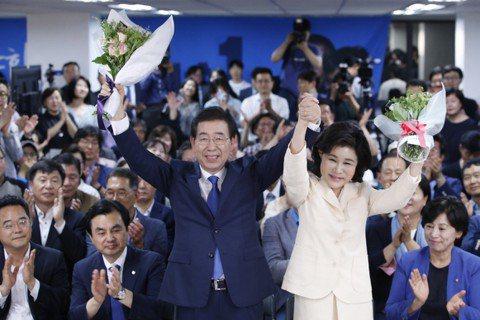 朴元淳三度勝選首爾市長。 圖/歐新社