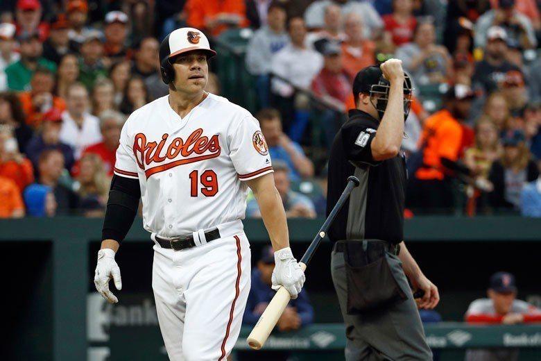金鶯一壘手戴維斯(左)在2013和2015球季各轟出53支和47支全壘打,勇奪當...