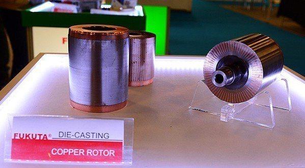 圖2 : 富田研發導電率能高出40%的銅鑄轉子取代鋁鑄。(攝影/籃貫銘)