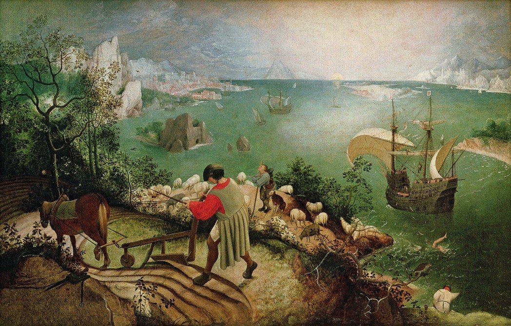 《伊卡洛斯的墜落》,由老彼得·布勒哲爾 (Pieter Bruegel de O...