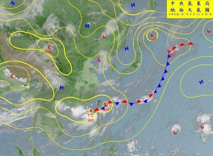 鵝鑾鼻西南西方約300公里海面上有熱帶性低氣壓。圖/氣象局提供