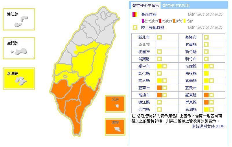 中央氣象局持續發布豪雨特報,熱帶性低氣壓及其外圍環流影響,今天台東縣、台南市、高...