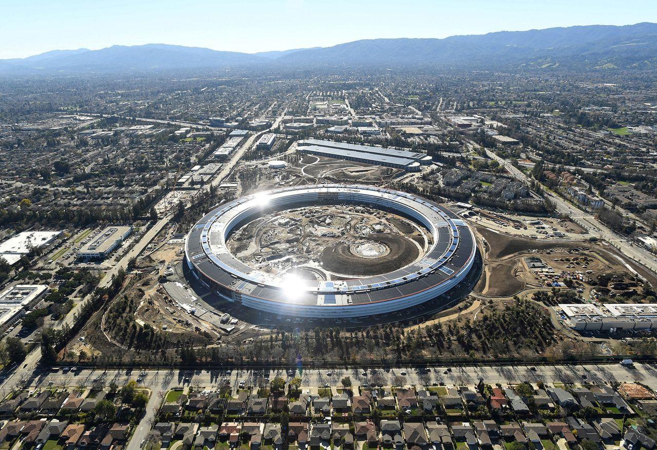 蘋果新園區去年1月所攝的鳥瞰照。路透