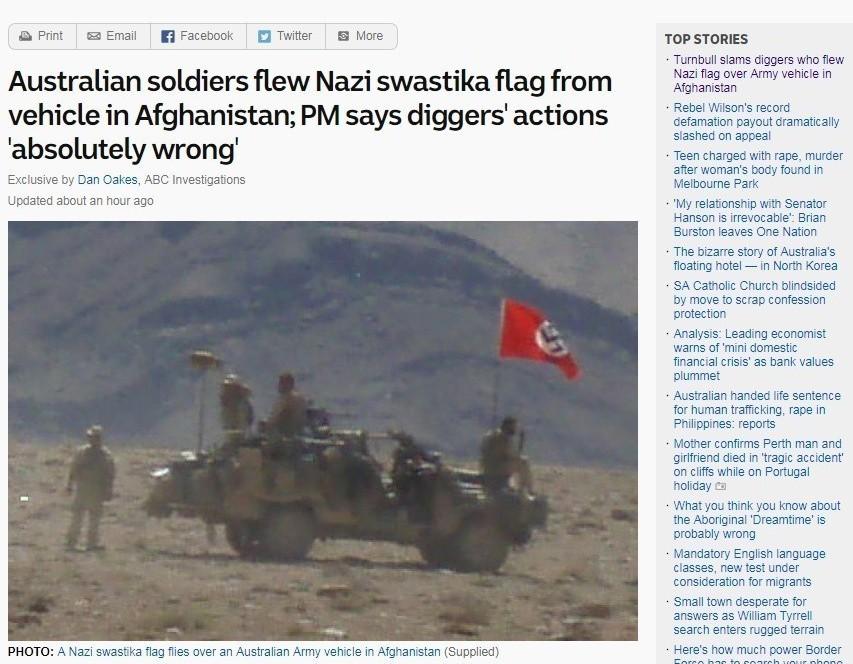 澳洲廣播公司(ABC)獨家取得照片顯示,澳洲士兵2007年8月在阿富汗進行任務時...