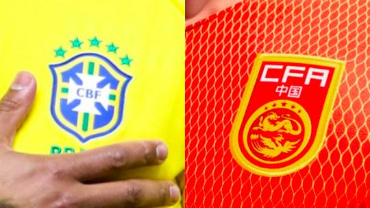 巴西球衣和中國大陸球衣上都有五星。(新浪微博照片)