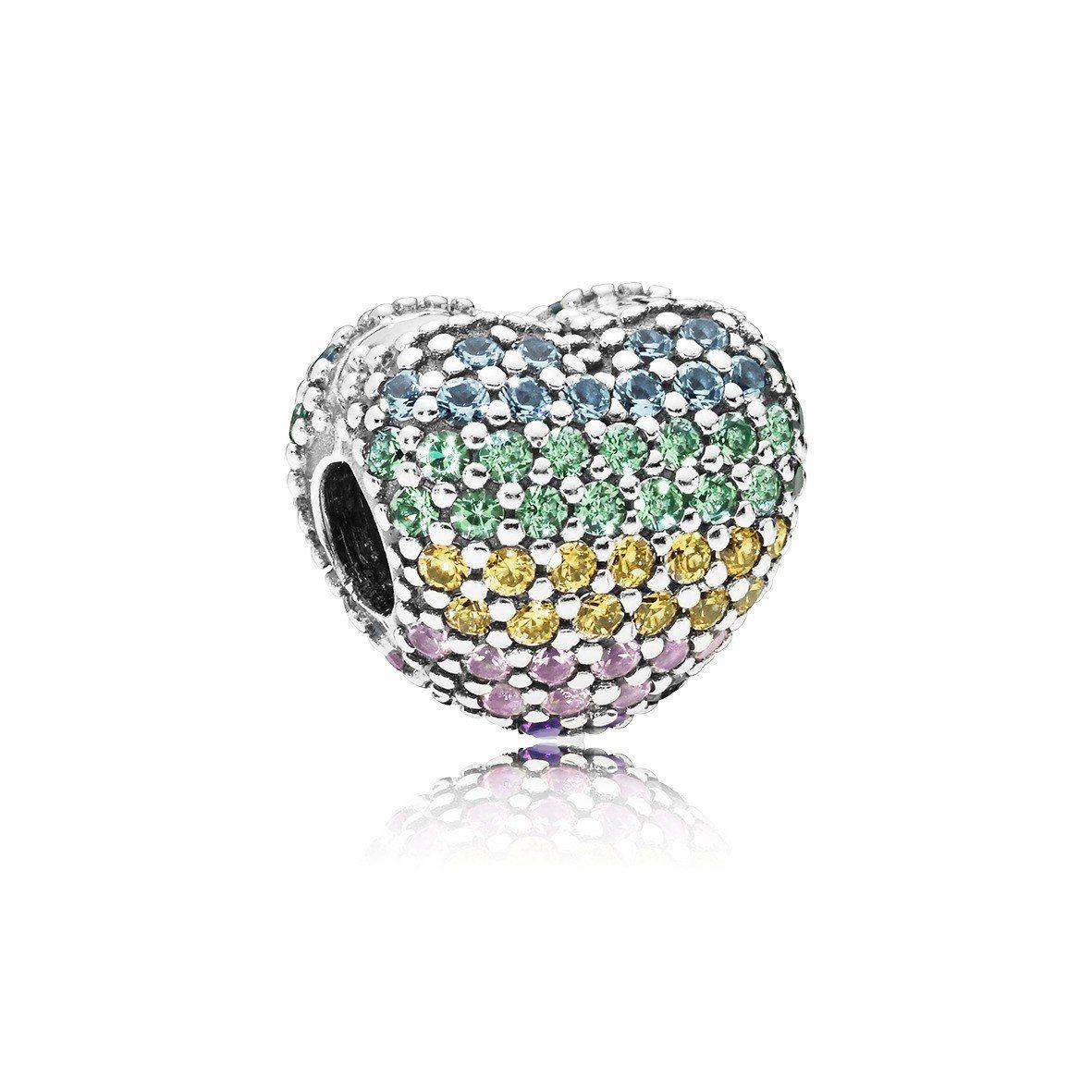 PANDORA 彩虹愛心鋯石固定釦,2,980元。圖/PANDORA提供