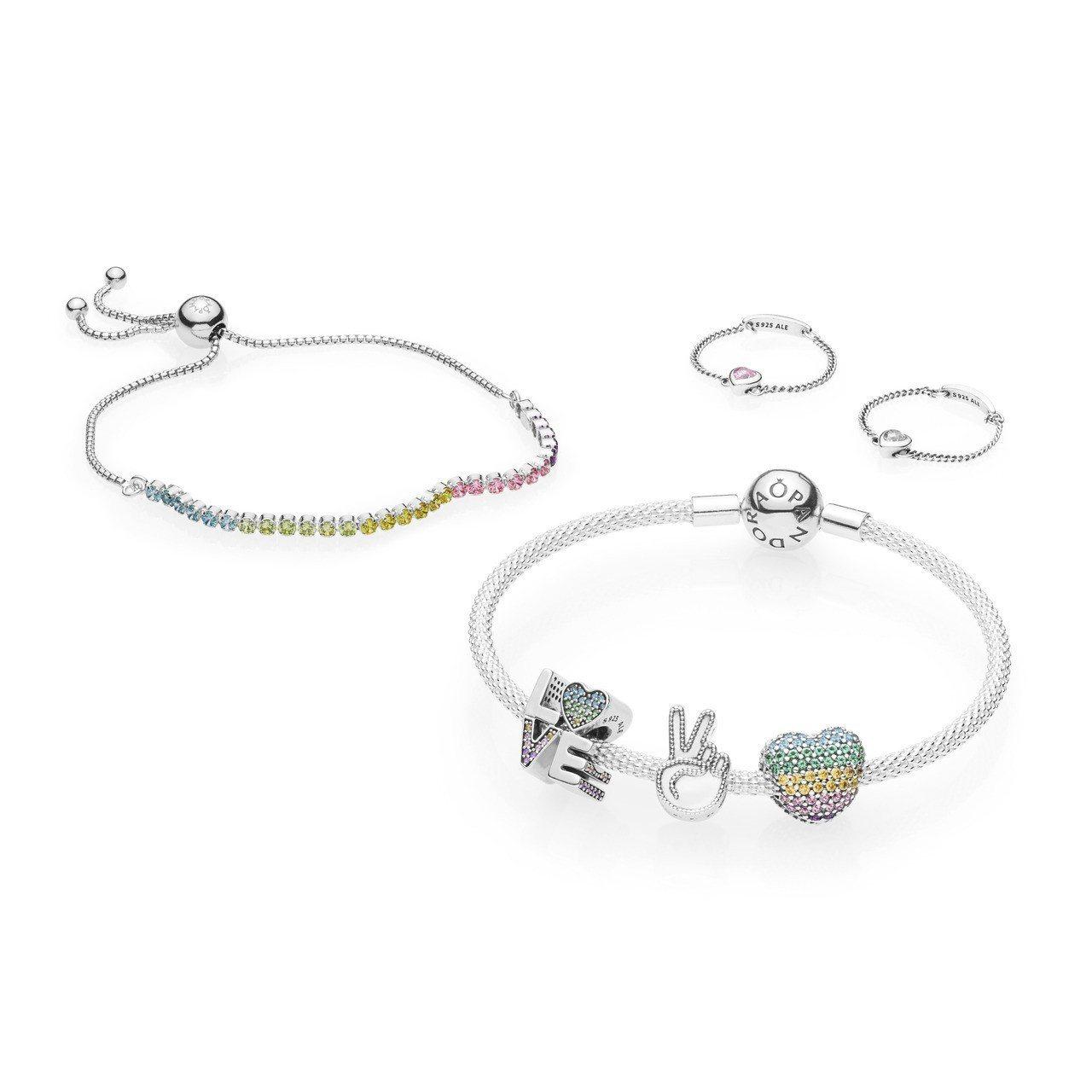 (順時鐘方向)PANDORA 彩虹鋯石 925 銀可調節式手鍊 2,580元;愛...