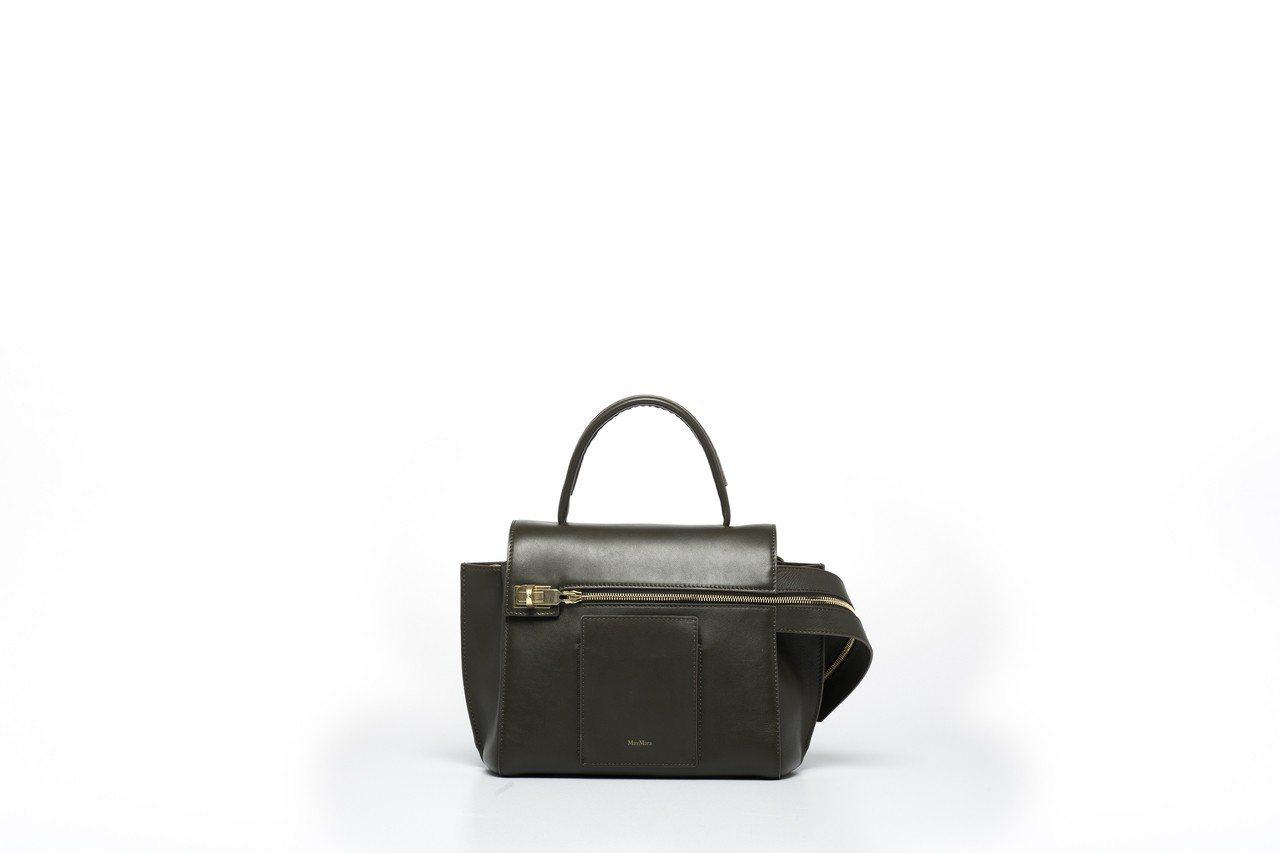 MARGAUX綠色小牛皮手提包,售價59,600元。圖/Max Mara提供