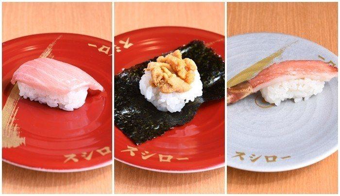 開幕日款期間限定商品,鮪魚大腹握壽司(左起)、智利海膽海苔包、生松葉蟹握壽司。圖...