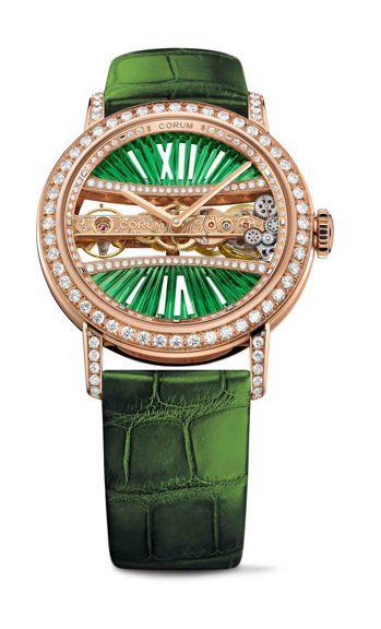 崑崙金橋系列39毫米綠色玫瑰金圓形鑽表,173萬9,000元。圖/崑崙表提供