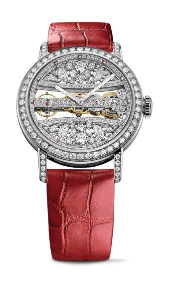 崑崙金橋系列39毫米白金蕾絲圓形鑽表,376萬8,000元。圖/崑崙表提供