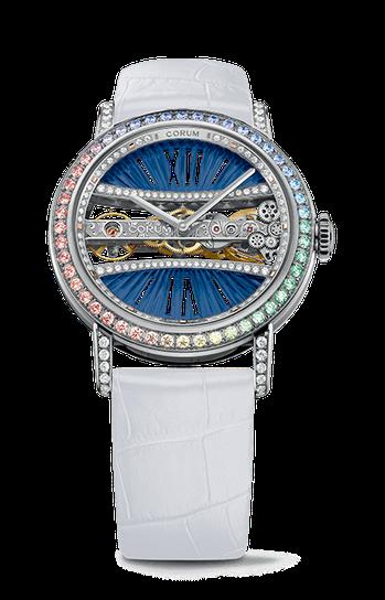 崑崙金橋系列39毫米白金彩鑽圓形鑽表,197萬元。圖/崑崙表提供