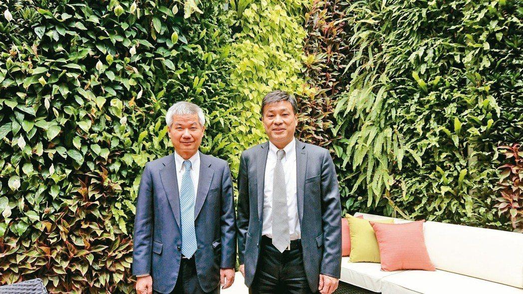 潤泰創新董事長簡滄圳(右)與總經理李志宏。 記者陳美玲/攝影