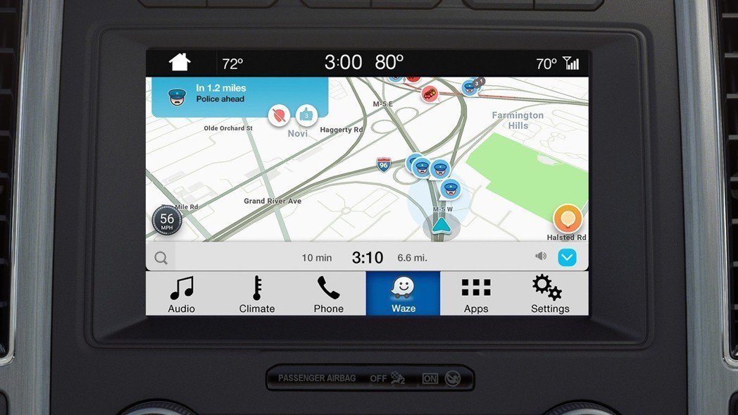 SYNC® 3娛樂通訊整合系統的8吋觸控螢幕提供繁體中文介面,並支援Waze(位...